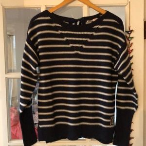 Rebecca Taylor Blue/White Merino Wool Sweater S